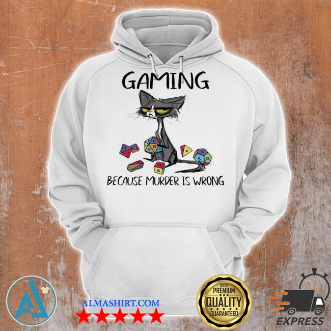 Black cat gaming because murder is wrong new 2021 s Unisex Hoodie