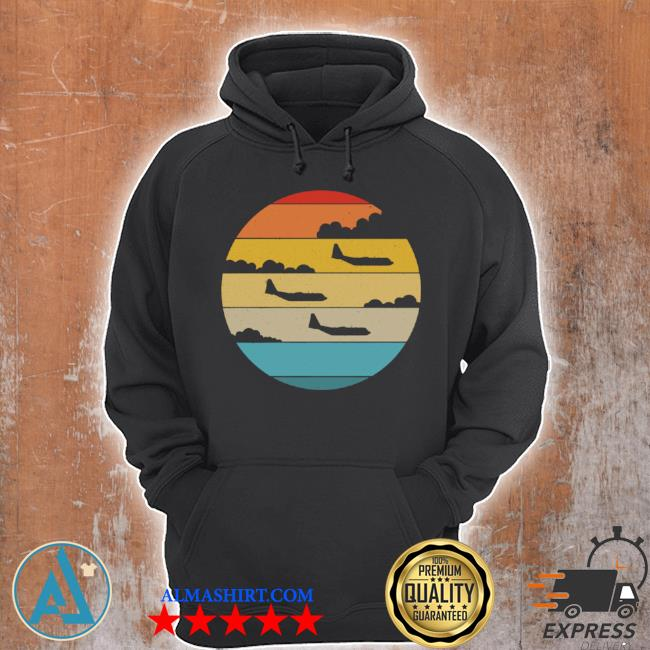 C130 hercules silhouette retro sunset airplane flying c130 s Unisex Hoodie