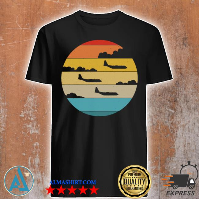 C130 hercules silhouette retro sunset airplane flying c130 shirt