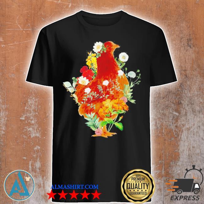 Cute chicken vintage floral botanical flower garden new 2021 2021 shirt