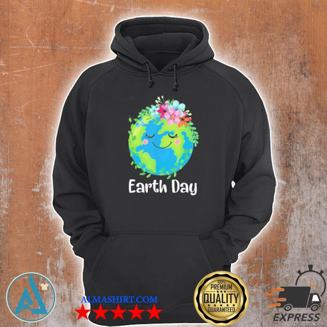 Happy earth day cute earth with floral earth day new 2021 s Unisex Hoodie