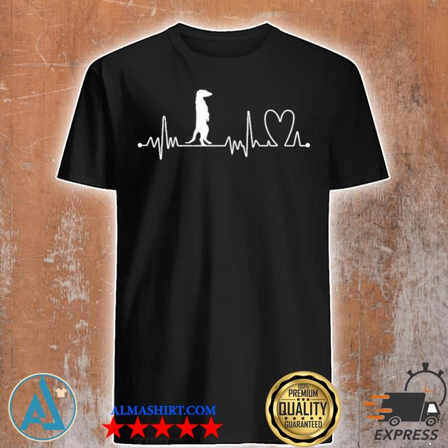 Heartbeat heart beat frequency ecg meerkat new 2021 shirt