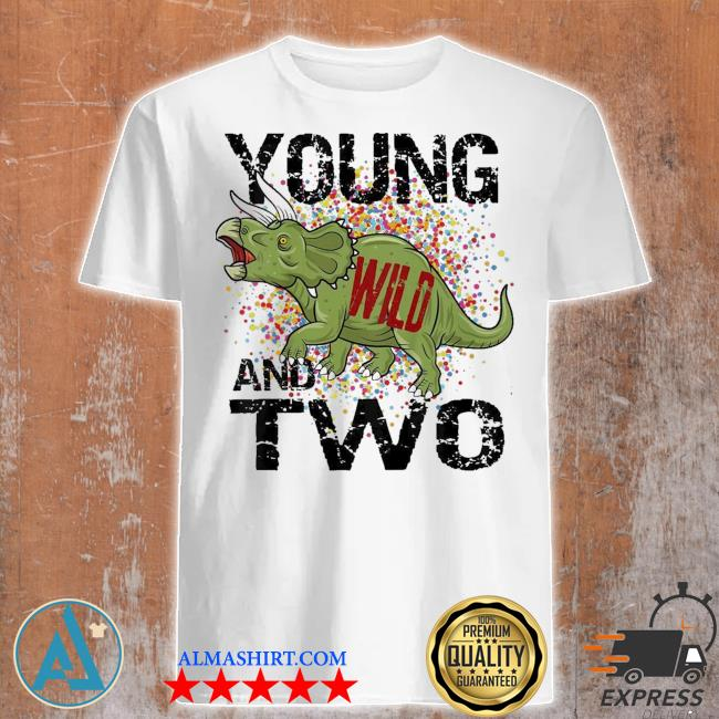 Kids young wild and two 2 three horned dinosaur themed birthday new 2021 shirt