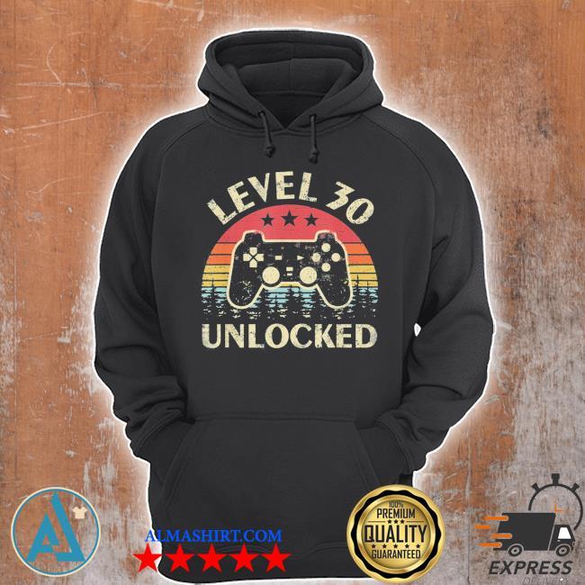 Level 30 unlocked 30th birthday vintage gamer s Unisex Hoodie