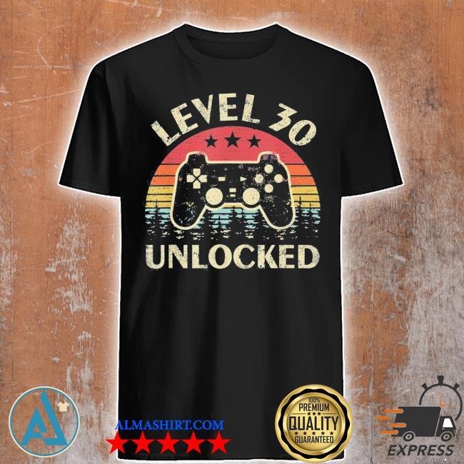Level 30 unlocked 30th birthday vintage gamer shirt
