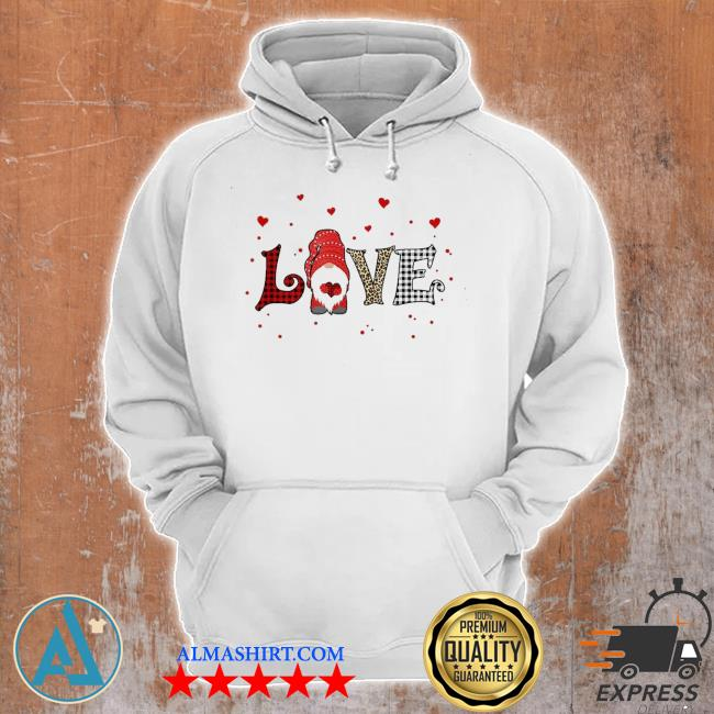 Love gnome Valentines day heart buffalo plaid leopard new 2021 s Unisex Hoodie