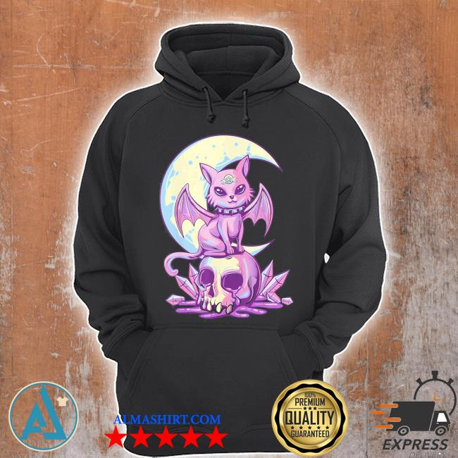 Pastel goth wiccan cat cute creepy witchy cat and skull s Unisex Hoodie