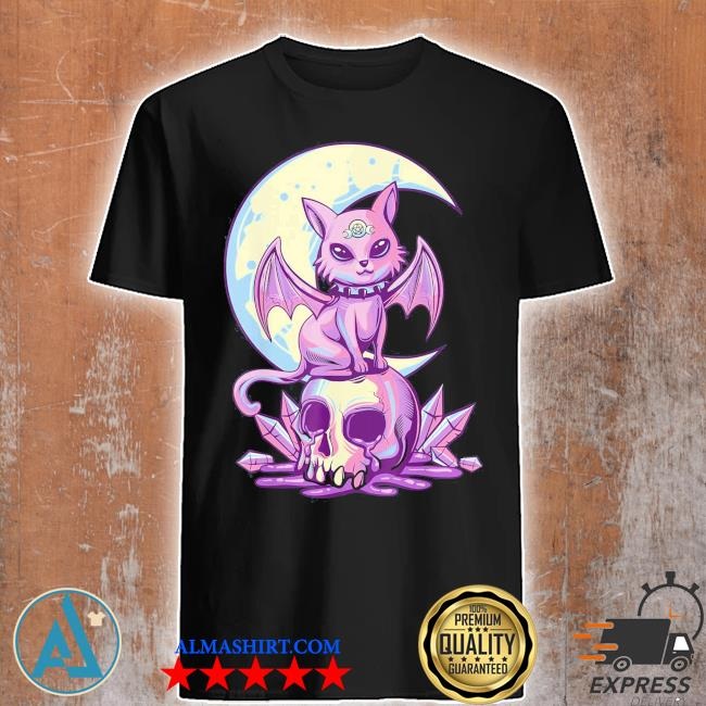 Pastel goth wiccan cat cute creepy witchy cat and skull shirt