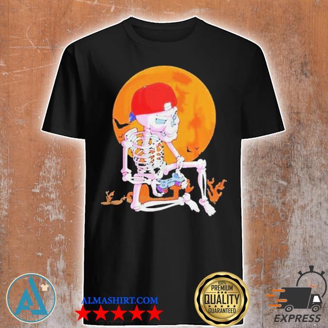 Skeleton boys gamer halloween shirt