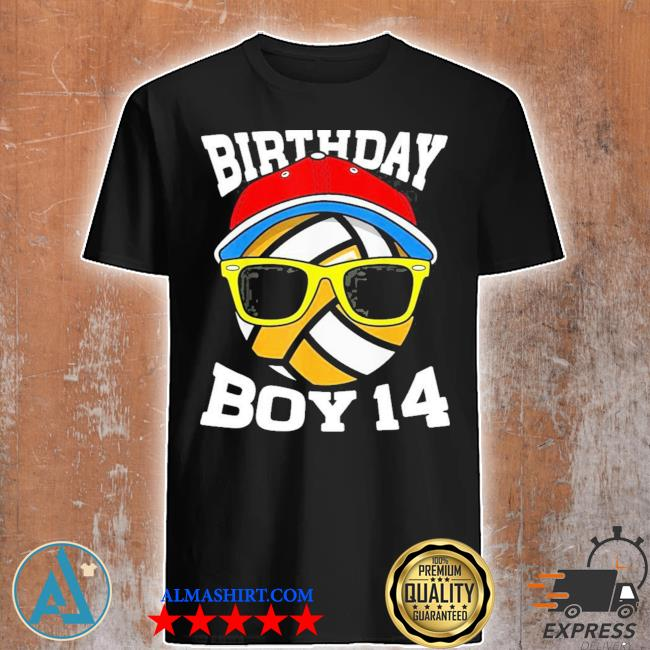 14th birthday boys 14 years old volleyball shirt