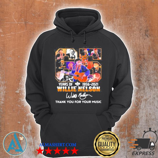 65 years of 1956 2021 willie nelson thank you for the memories signature s Unisex Hoodie