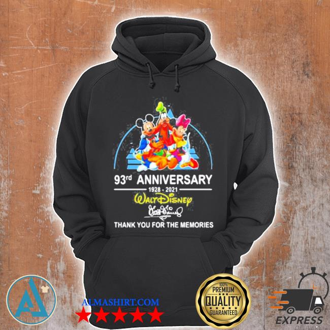 93rd anniversary 1928 2021 walt disney thank you for the memories signature s Unisex Hoodie