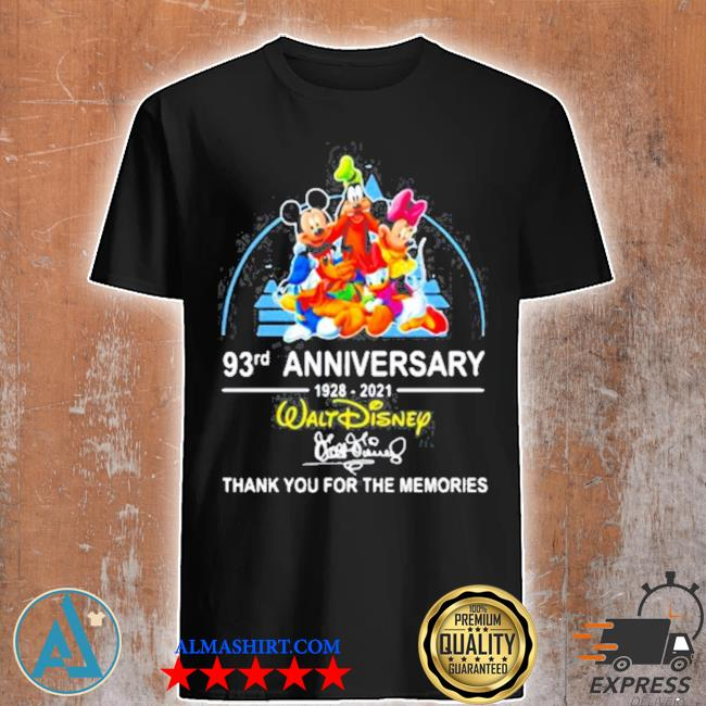 93rd anniversary 1928 2021 walt disney thank you for the memories signature shirt