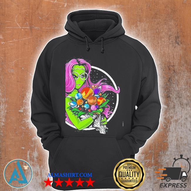 Alien hippie psychedelic space planets flowers s Unisex Hoodie