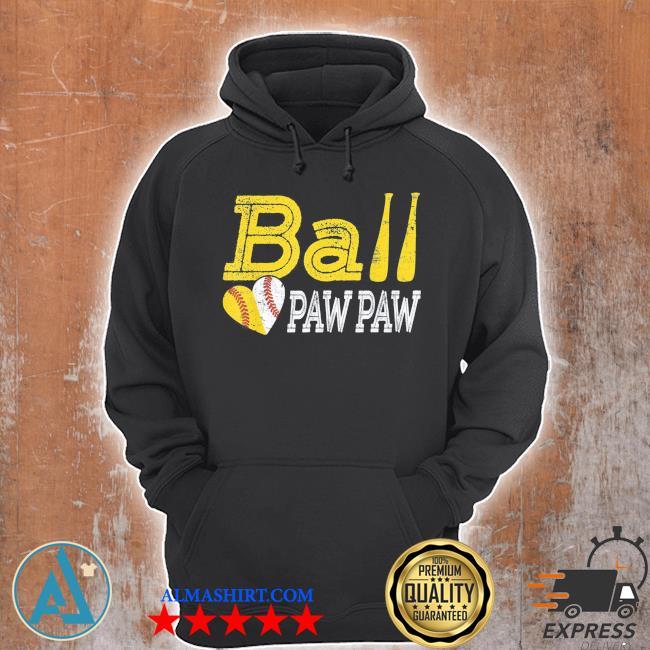 Baseball softball ball heart paw paw father's day s s Unisex Hoodie