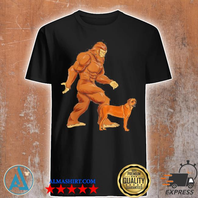 Funny bigfoot walking rhodesian ridgeback sasquatch dog shirt