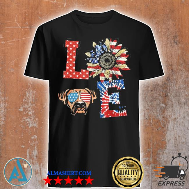 Funny love Boxer dog usa flag sunflower tie dye new 2021 shirt