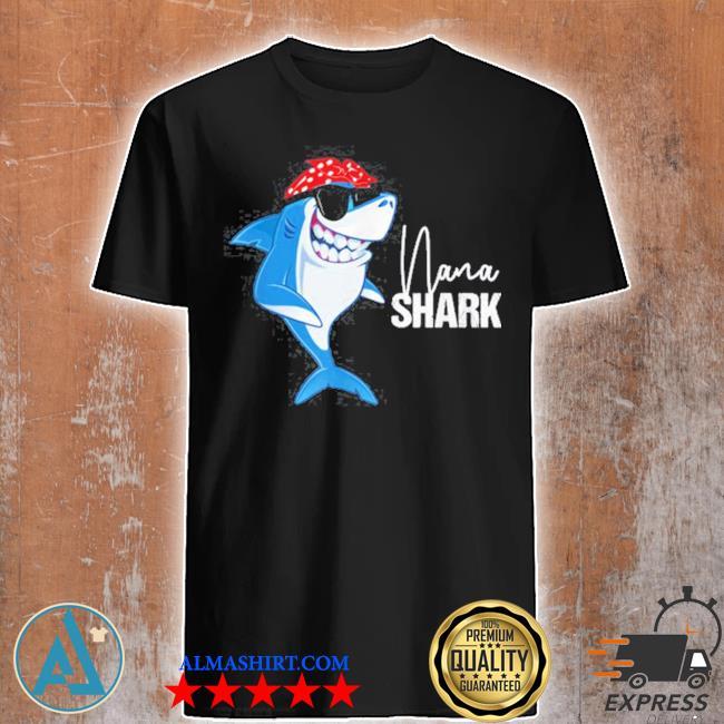 Nana shark wearing sunglasses bandana grandma shirt