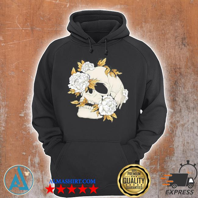 Skull flowers goth gothic occult wicca witchcore witchcraft new 2021 s Unisex Hoodie