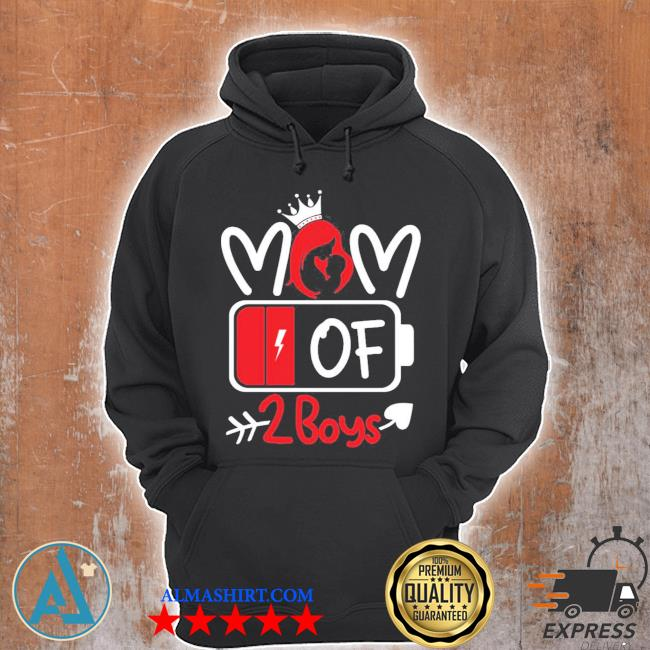 Trending mom of 2 boys low battery tired mom crown heart mom life gift for mother's day s Unisex Hoodie