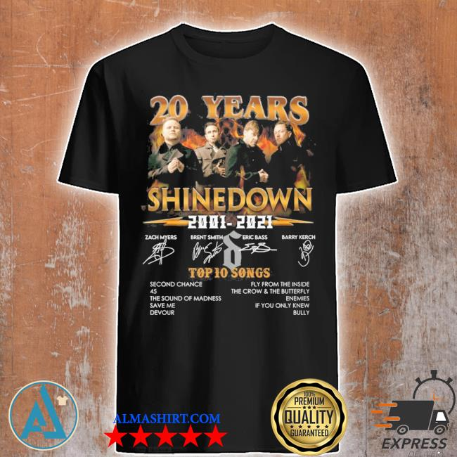 20 years shinedown 2001 2021 zack myers and brent smith eric bass and barry kerch shirt