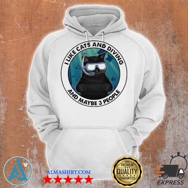 Black cat I like cats and diving and maybe 3 people s Unisex Hoodie