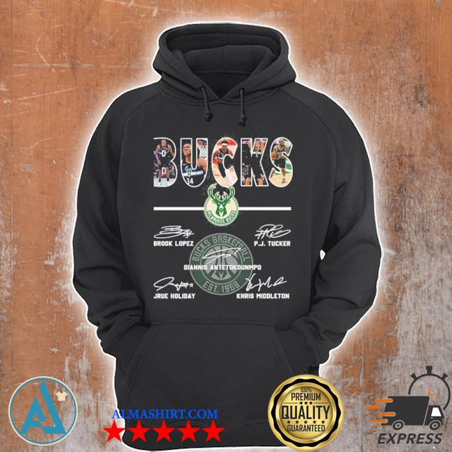 Bucks basketball brook lopez and p.j. tucker and giannis antetokounmpo and jrue holiday and khris middleton s Unisex Hoodie
