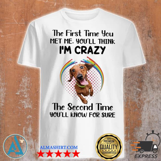 Dachshund the first time you met you'll think i'm crazy the second time you'll know for sure shirt
