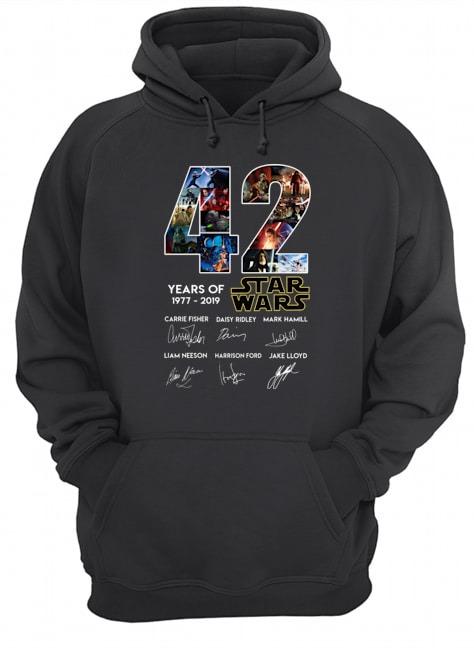 42 years of Star Wars 1977 2019 signatures Hoodie