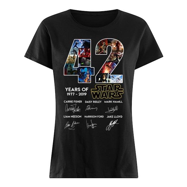 42 years of Star Wars 1977 2019 signatures Ladies shirt