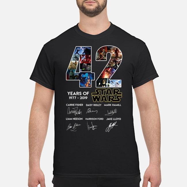 42 years of Star Wars 1977 2019 signatures shirt