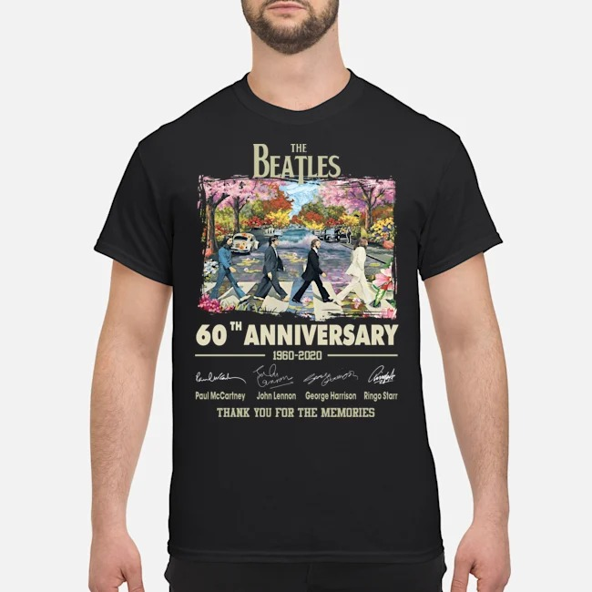 The Beatles walking on street 60th Anniversary 1960 2020 signatures thank you for the memories shirt