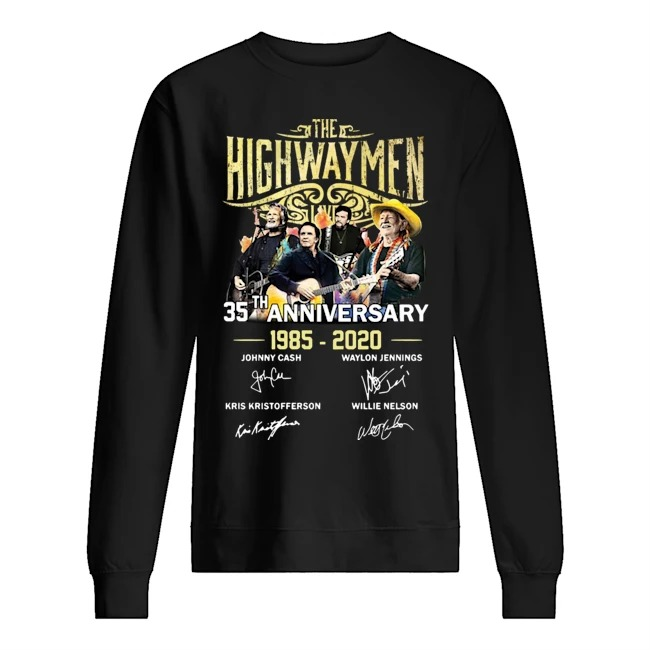 The Highwaymen 35th anniversary 1985 2020 signatures Sweater