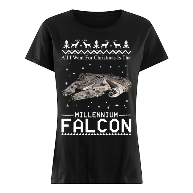 All I want for Christmas is the Millennium Falcon Ladies shirt