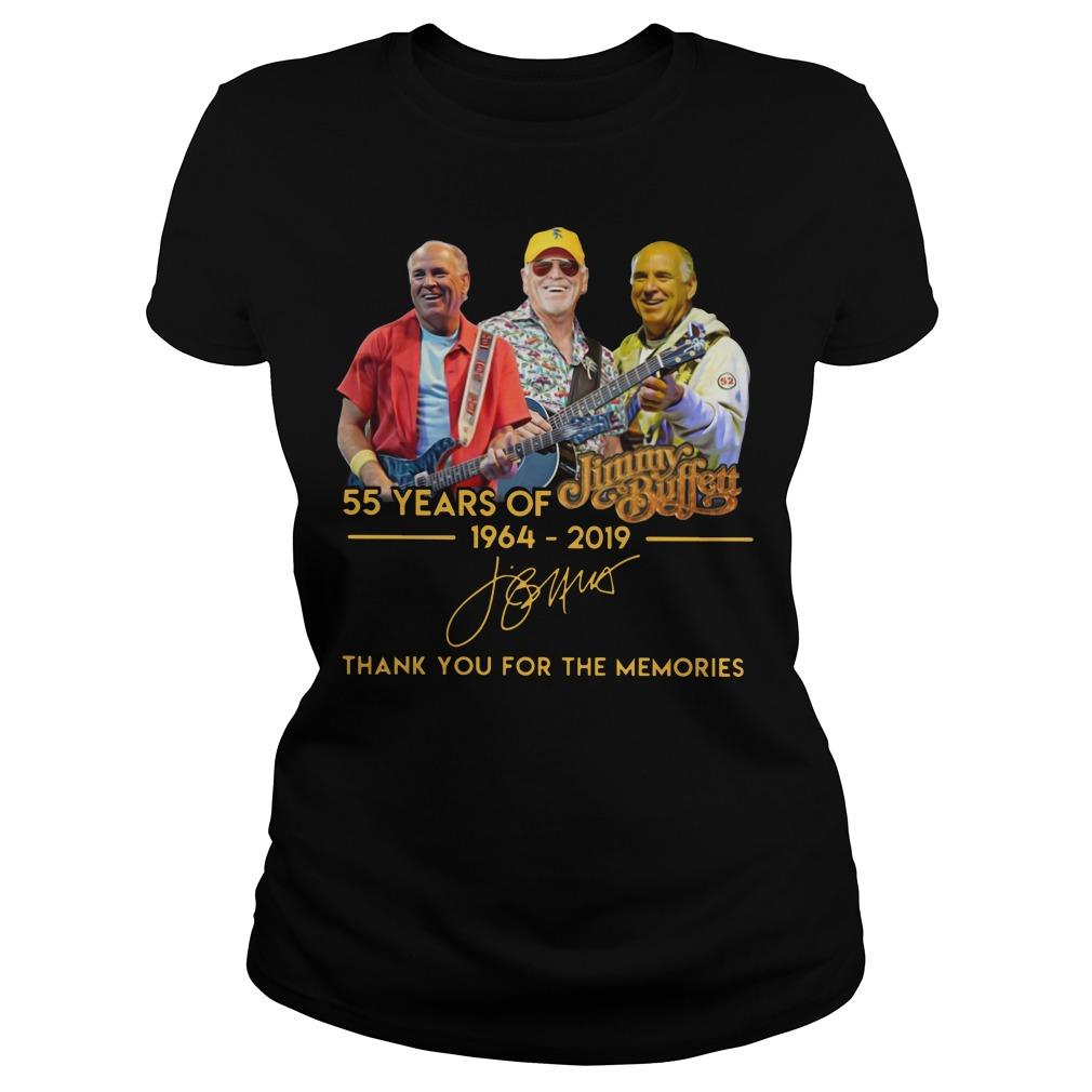 55 years of Jimmy Buffett 1964 2019 signature Ladies shirt