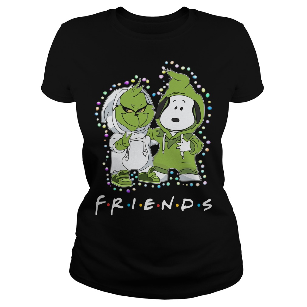 Baby Grinch and Snoopy Friends light Christmas Ladies shirt