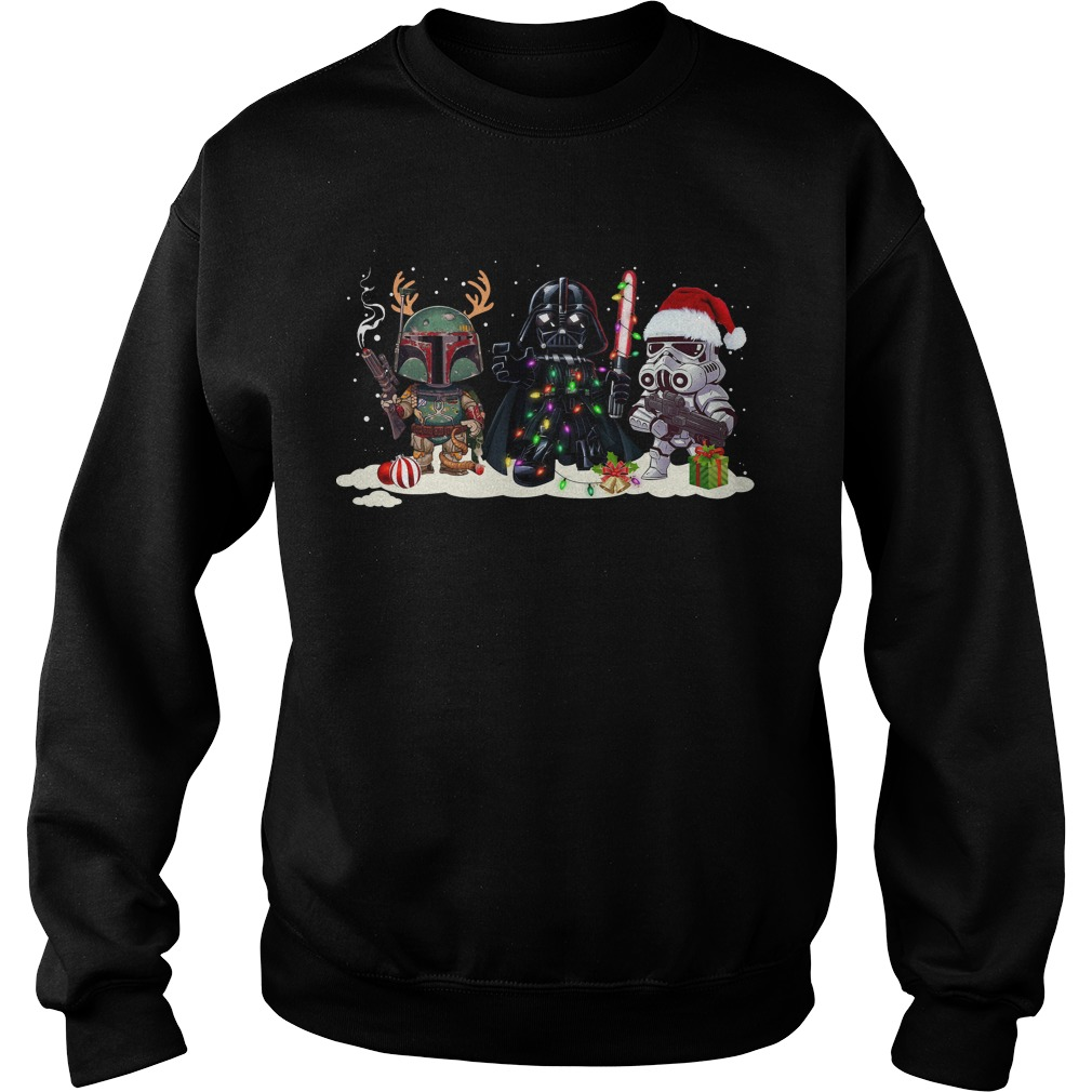 Boba Fett Merry Darth Vader and StormTrooper Christmas Sweater