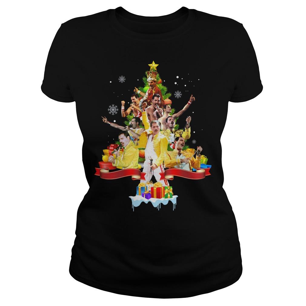 Freddie Mercury Christmas tree Ladies shirt