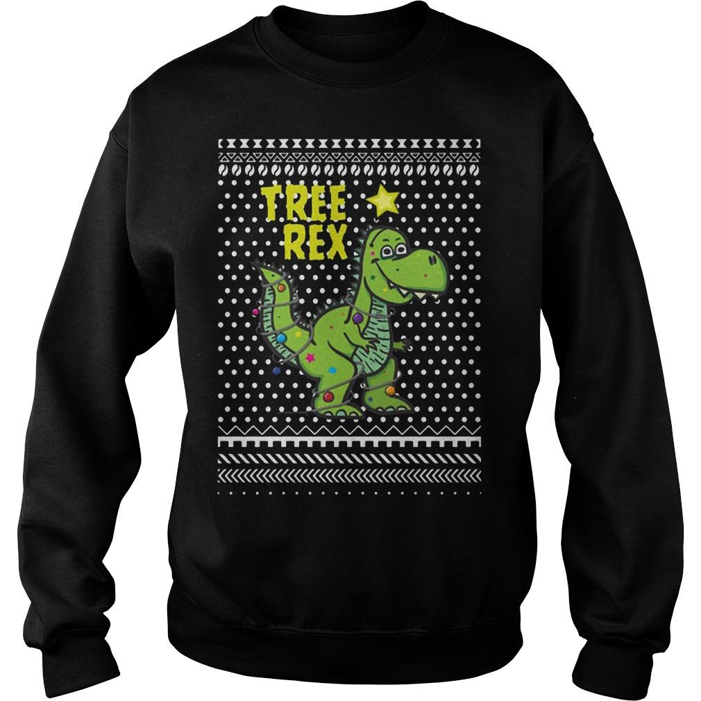 Tree Rex Smile Light Santa Hat Ugly Christmas Sweater