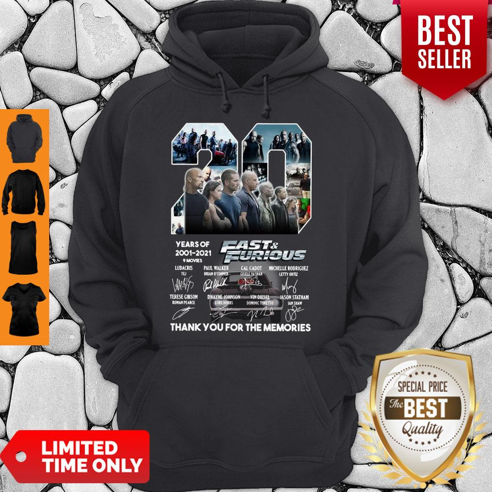 20 Years Of 2001 2021 9 Movies Fast & Furious Thank You For The Memories Signatures Hoodie