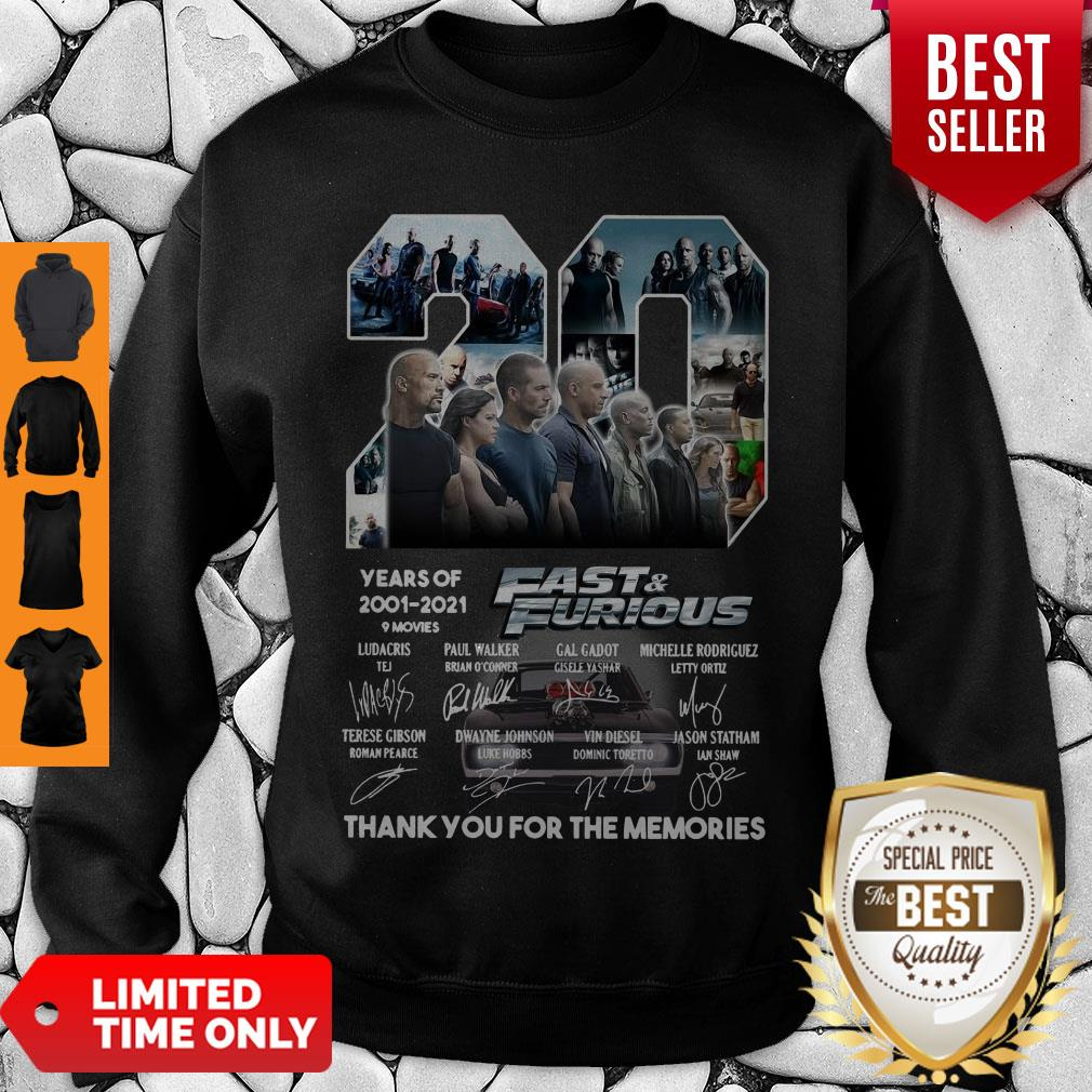 20 Years Of 2001 2021 9 Movies Fast & Furious Thank You For The Memories Signatures Sweatshirt