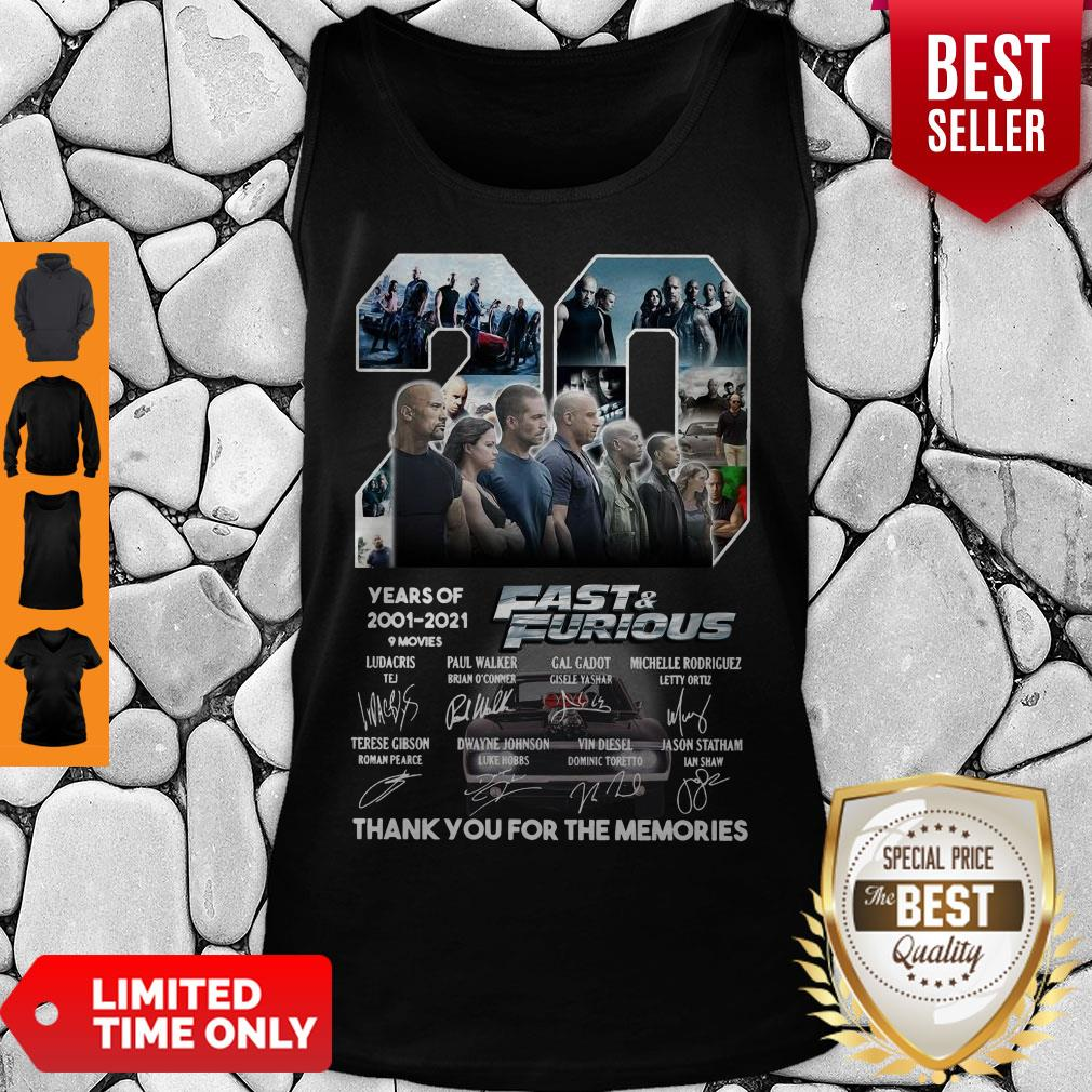 20 Years Of 2001 2021 9 Movies Fast & Furious Thank You For The Memories Signatures Tank Top