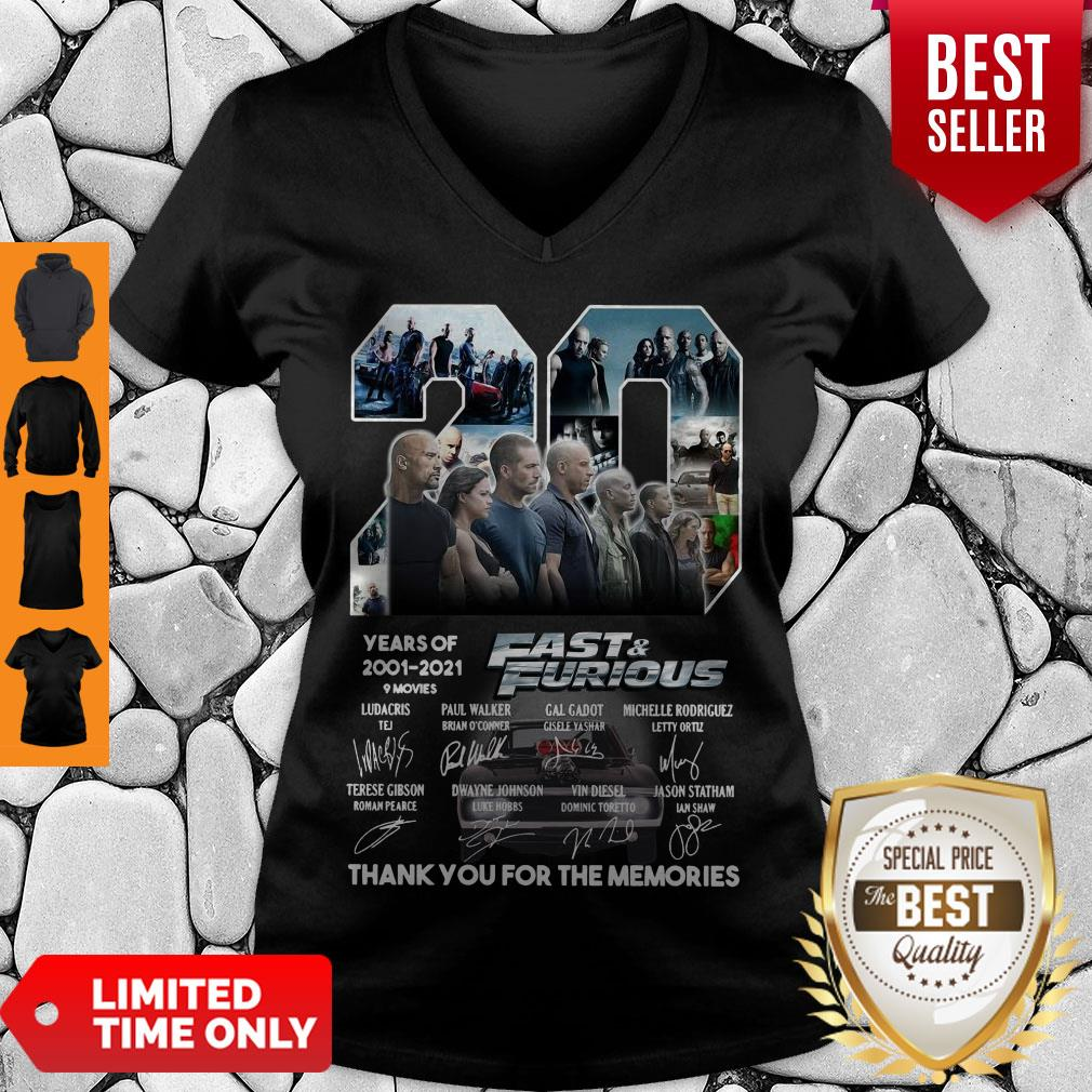 20 Years Of 2001 2021 9 Movies Fast & Furious Thank You For The Memories Signatures V-neck