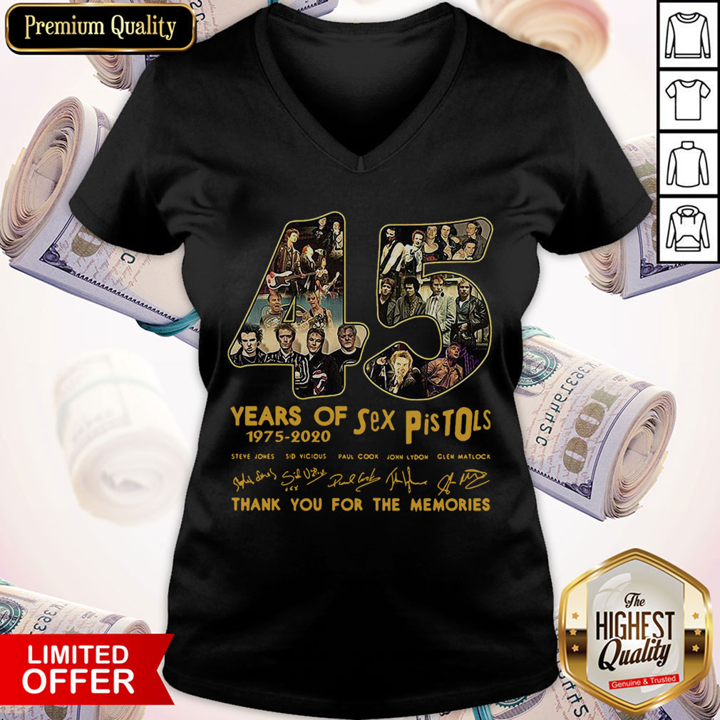 45 Years Of Sex Pistols 1975 2020 Thank You For The Memories Signatures V-neck