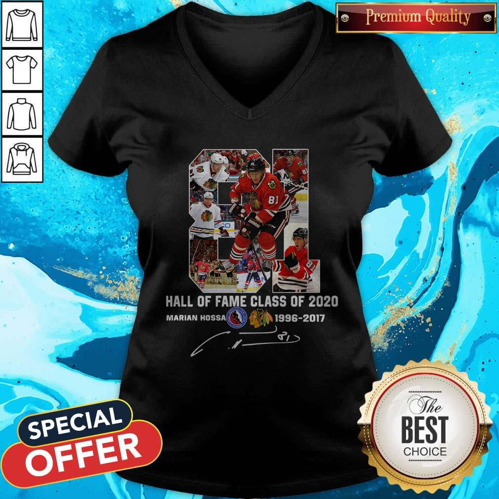 81 Hall Of Fame Class Of 2020 Marian Hossa 1996-2017 Signature V-neck