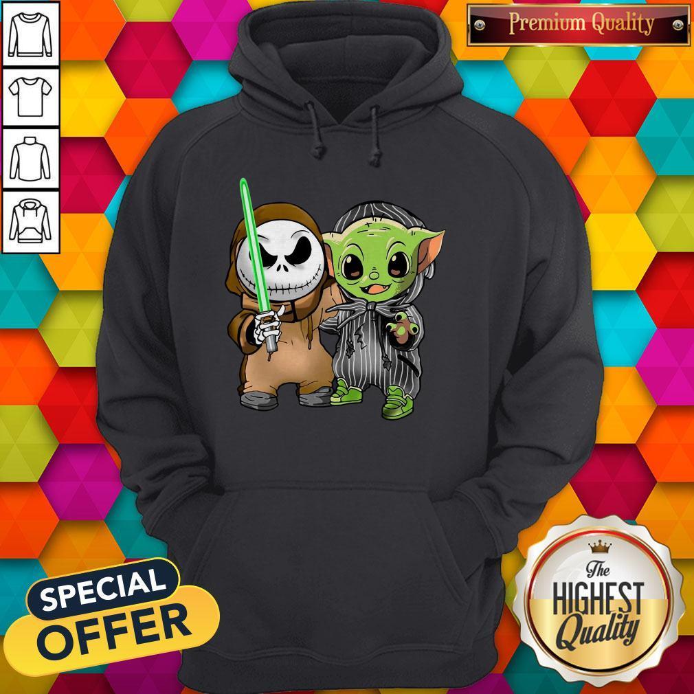 Awesome Baby Yoda And Jack Skellington Hoodie
