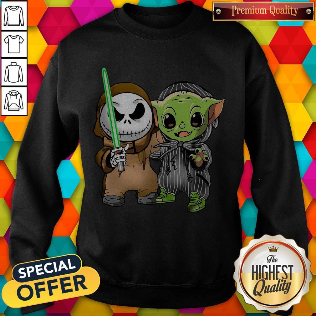 Awesome Baby Yoda And Jack Skellington Sweatshirt