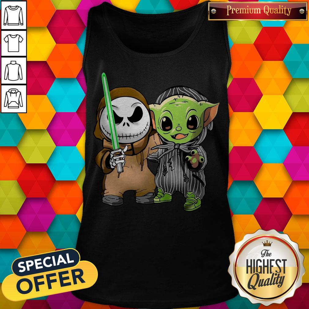 Awesome Baby Yoda And Jack Skellington Tank Top