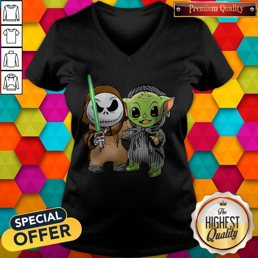 Awesome Baby Yoda And Jack Skellington V-neck