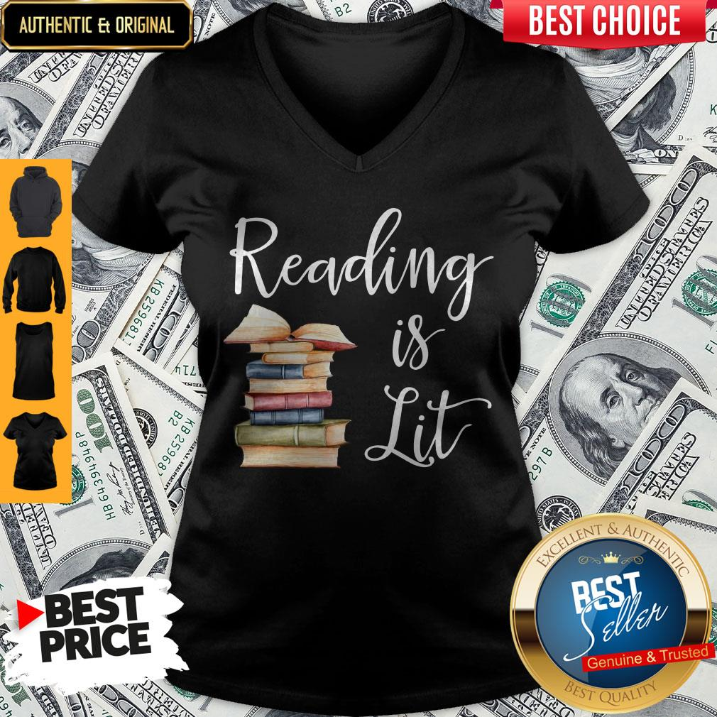 Awesome Reading Is Lit Book V-neck